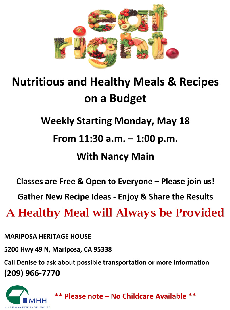 Mariposa Heritage House Offers Healthy Lifestyle Classes
