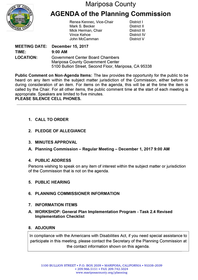 2017 12 15 mariposa county Planning Commission agenda december 15 2017