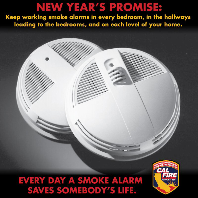 Cal fire new year s promise keep working smoke alarms in - Smoke detector placement in bedroom ...