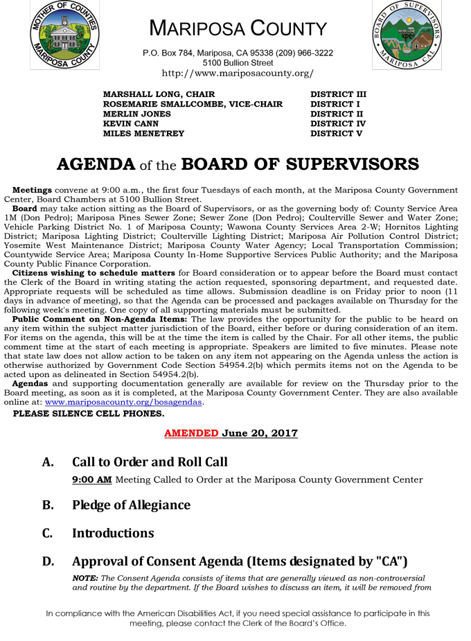 2017 06 20 mariposa county board of supervisors agenda june 20 2017 1