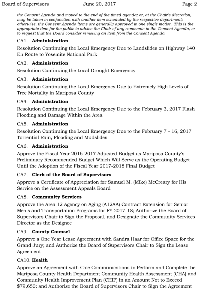 2017 06 20 mariposa county board of supervisors agenda june 20 2017 2