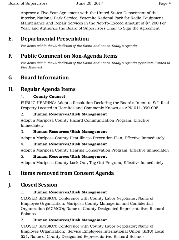 2017 06 20 mariposa county board of supervisors agenda june 20 2017 4