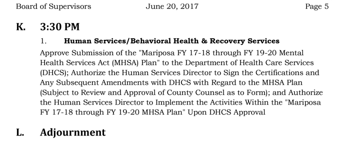 2017 06 20 mariposa county board of supervisors agenda june 20 2017 5