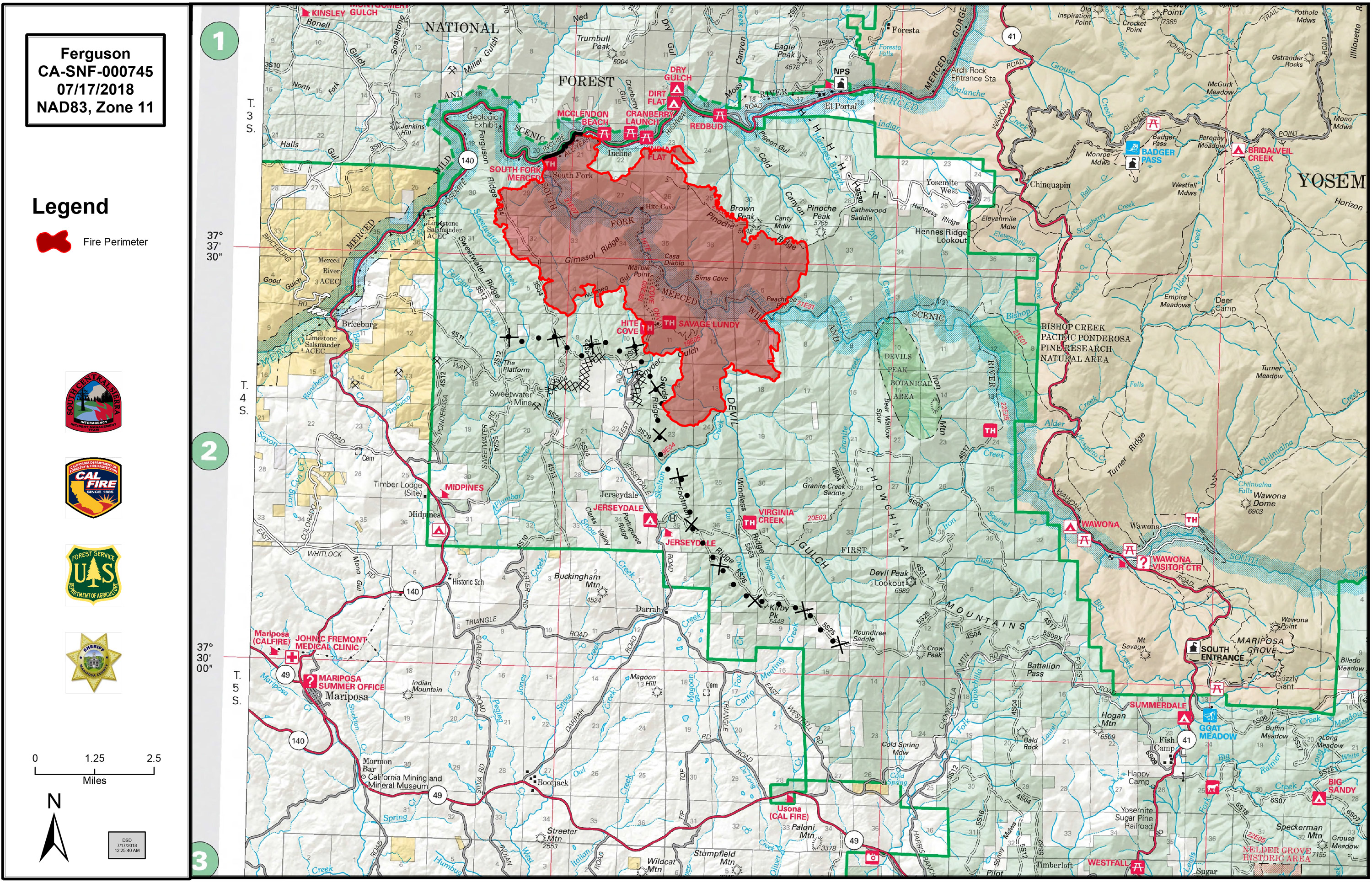 Fire Map Yosemite.Ferguson Fire Near Yosemite National Park In Mariposa County Tuesday