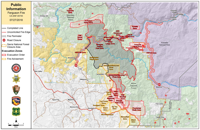Ferguson Fire Near Yosemite National Park in Mariposa County, Friday ...
