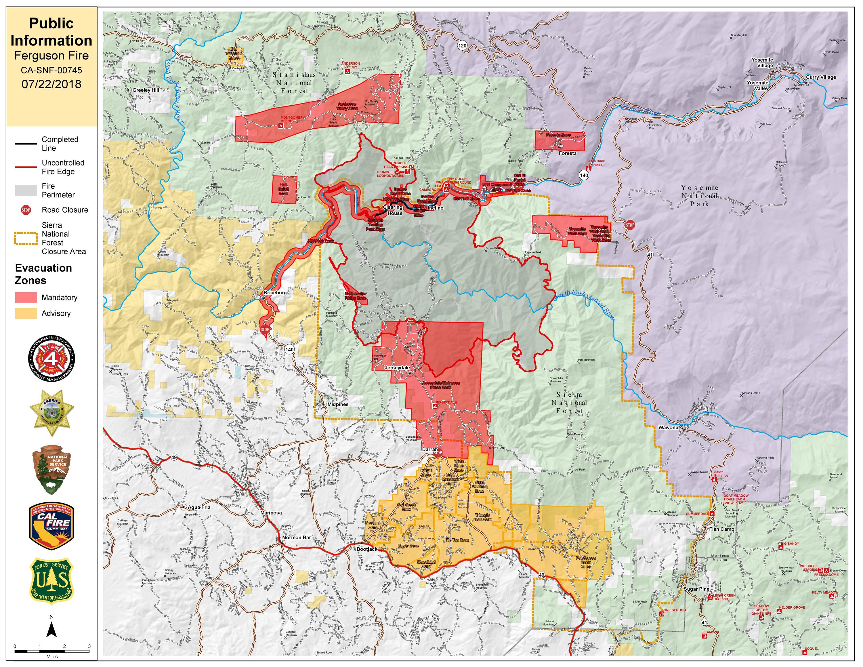 Ferguson Fire Near Yosemite National Park In Mariposa County Sunday - Map of california near yosemite