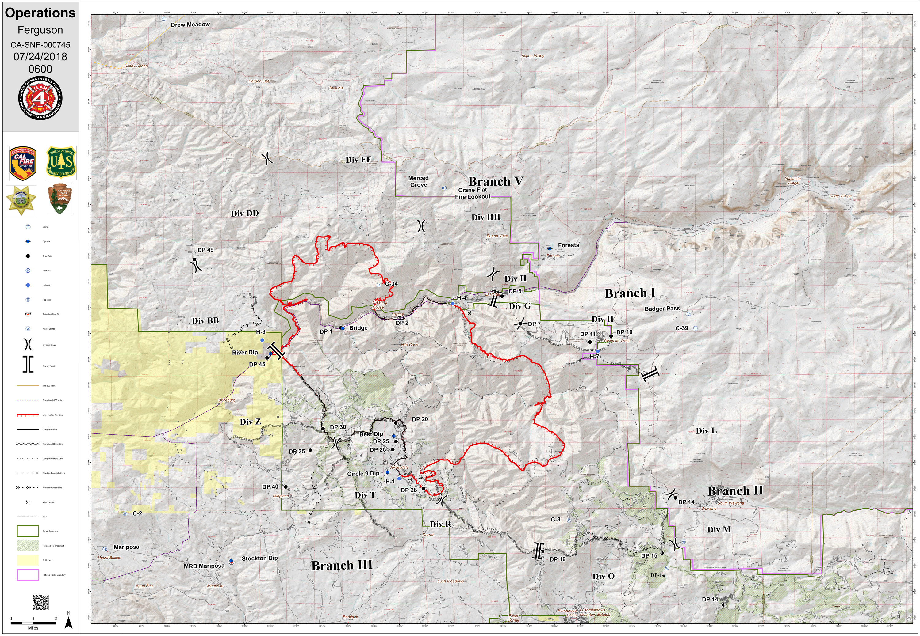 County Line 2 Fire Map.Ferguson Fire Near Yosemite National Park In Mariposa County Tuesday