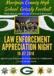 Mariposa County High School Grizzlies Football Hosts Law Enforcement Appreciation Night on October 7, 2016