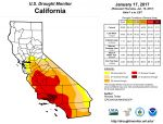 California and National Drought Summary for January 17, 2017