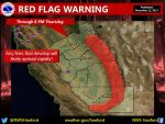 National Weather Service Issues Red Flag Warning for the Sierra Nevada from Kings Canyon National Park to Yosemite National Park