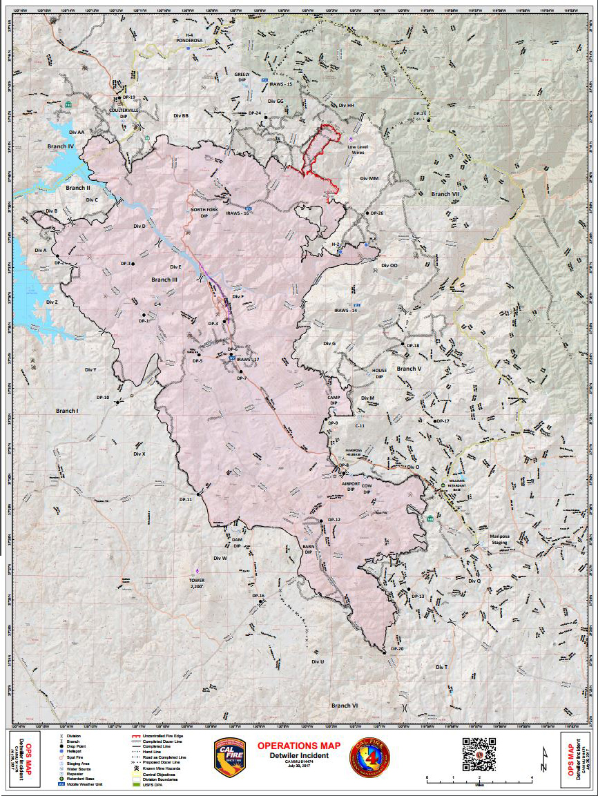 Daily Operations Map For Detwiler Wildfire In Mariposa County For