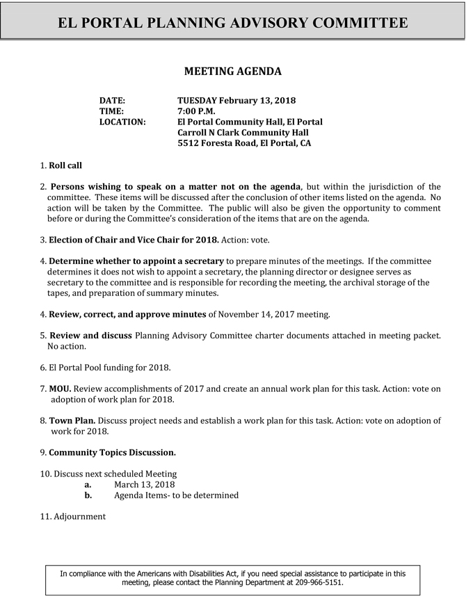 2018 02 13 mariposa county El Portal Planning Advisory Committee agenda february 13 2018
