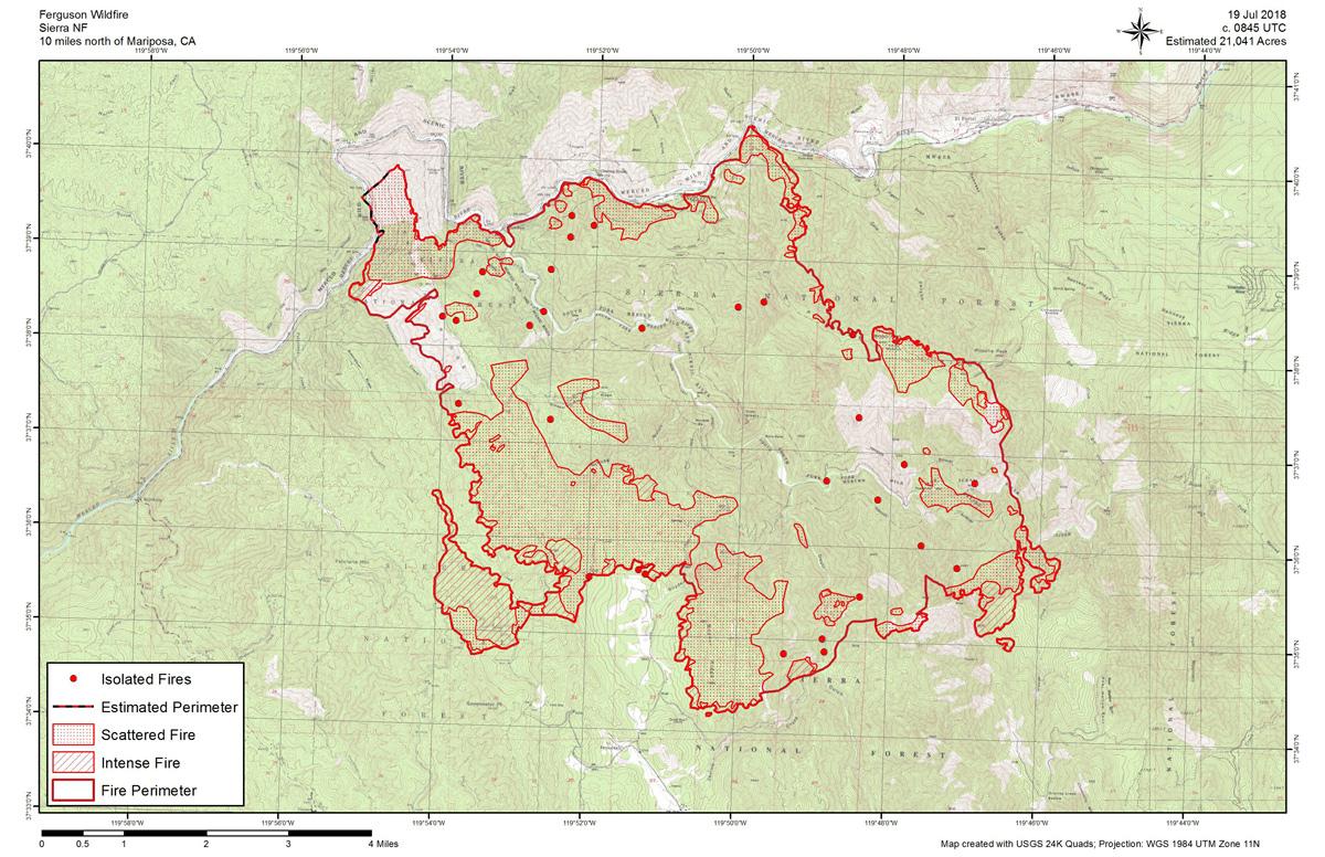 Ferguson Fire Near Yosemite National Park In Mariposa County - Map of california near yosemite
