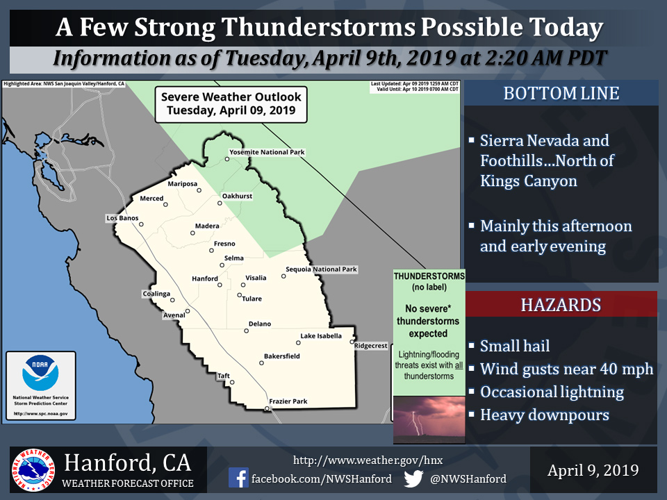 Possible Thunderstorms for Mariposa County, Eastern Madera County, Sierra Nevada and Yosemite Today, April 9