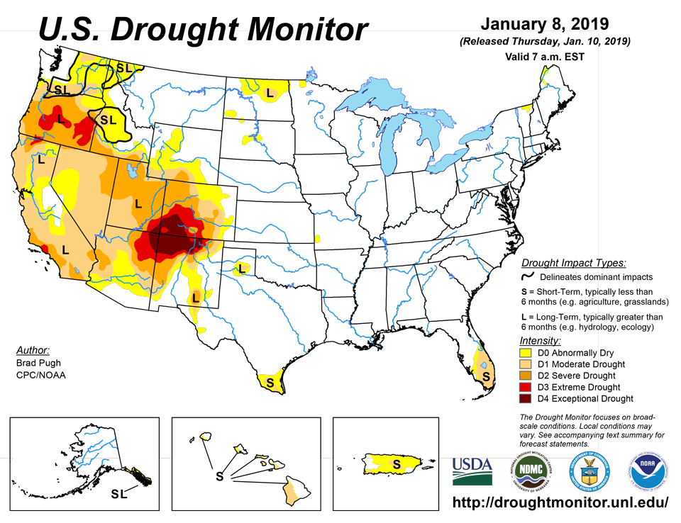 us drought map january 8 2019