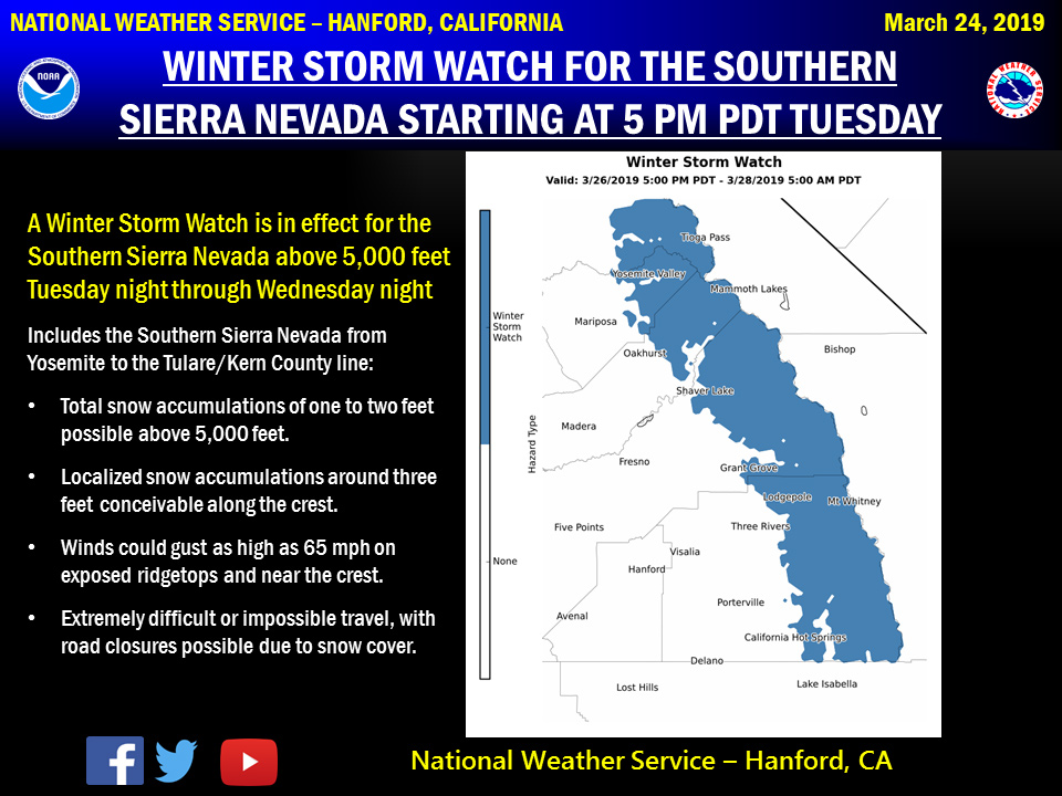 Winter Storm Watch Issued for the Southern Sierra Nevada