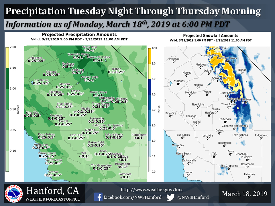 """National Weather Service Projected Rainfall Totals for Tuesday Night - Thursday Morning Weather System for Mariposa, Oakhurst and Yosemite Valley 0.50"""" to 1.00"""""""
