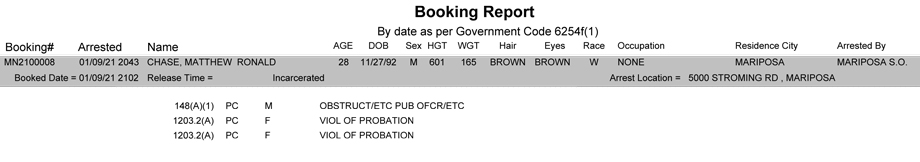 mariposa county booking report for january 9 2021