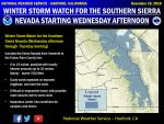 National Weather Service Issues Winter Storm Watch for Southern Sierra Nevada Beginning Wednesday Afternoon, November 21