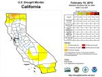 California and National Drought Summary for February 19, 2019, 10 Day Weather Outlook, and California Drought Statistics