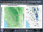 Sunday May 26 Weather System Projected Rainfall Totals for Mariposa, Oakhurst and Yosemite up to 1.00