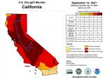 California and National Drought Summary for September 14, 2021, 10 Day Weather Outlook, and California Drought Statistics – 46% in Exceptional Drought