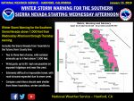 Winter Storm Warning Issued for Sierra Nevada from Yosemite to Kings Canyon Beginning Wednesday, January 16, 2019