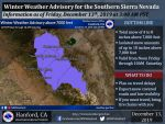 Weather Service Updates the Winter Weather Advisory Issued for the Central Sierra including Yosemite National Park Above 7,000 Feet Beginning Today (Friday) at Noon
