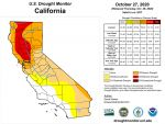 California and National Drought Summary for October 27, 2020, 10 Day Weather Outlook, and California Drought Statistics