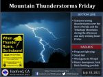 Weather Service Reports Scattered Thunderstorms for the Sierra Nevada and Tehachapi Mountains Today (Friday)