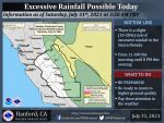 Weather Service Reports Excessive Rainfall Possible Today (Saturday) in the Sierra Nevada