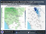 National Weather Service Projected Rainfall Totals for Friday - Saturday Weather System for Mariposa and Oakhurst 0.25