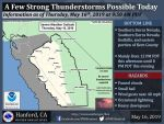 Weather Service Updates the Possibility of Thunderstorms in Eastern Mariposa County and Yosemite National Park Today (Thursday, May 16)