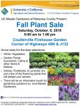 Mariposa County Master Gardeners Annual Fall Plant Sale to be Held in Coulterville on Saturday, October 6, 2018
