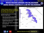 Winter Weather Advisory Issued for Today for the Southern Sierra Nevada from Yosemite to Kings Canyon Above 8,000 Feet Beginning at 11:00 A.M.