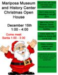 Santa and Mrs. Claus to Visit the Mariposa Museum & History Center at Open House on Sunday, December 15, 2019