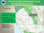 Flash Flood Watch Issued for Mariposa, Madera and Fresno County Foothills, Sierra Nevada from Yosemite to Kings Canyon Beginning Wednesday