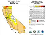California and National Drought Summary for January 15, 2019, 10 Day Weather Outlook, and California Drought Statistics