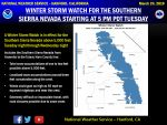 Winter Storm Watch Issued for the Southern Sierra Nevada from Yosemite to Kings Canyon Beginning Late Tuesday Afternoon