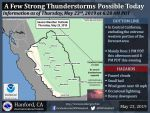 Thunderstorms Possible in Mariposa County, Oakhurst and Yosemite National Park Today (Thursday, May 23)