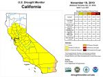 California and National Drought Summary for November 19, 2019, 10 Day Weather Outlook, and California Drought Statistics
