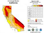 California and National Drought Summary for March 2, 2021, 10 Day Weather Outlook, and California Drought Statistics