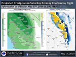 Incoming Saturday Afternoon Weather System Projected Rainfall Totals for Mariposa, Oakhurst and Yosemite Up to 1.50