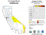 California and National Drought Summary for October 15, 2019, 10 Day Weather Outlook, and California Drought Statistics