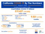 California State Officials Announce Latest COVID-19 Facts for Tuesday Afternoon, August 4 – 519,427 (Up 4,526 Over Monday's Report) Confirmed Cases, 9,501 Deaths (Up 113 Over Monday's Report)