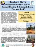 "Southern Sierra Prescribed Fire Council 2020 Annual Meeting and Outreach Event ""Fire as a Tool"" Date Changed to Tuesday, November 17"