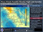 Weather Service Reports Mono Winds Possible Monday Night and Tuesday – Possible Wind Gusts Near 60 MPH for Portions of Madera and Mariposa Counties (Including Yosemite National Park) and Northern Fresno County