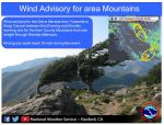 National Weather Service Issues a Wind Advisory for the Sierra Nevada from Yosemite to Kings Canyon