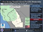 Possible Thunderstorms for Merced, Mariposa, Oakhurst and Yosemite National Park on Wednesday, March 27