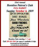 Hornitos Patrons Club to Host 33rd Annual Hornitos Flea Market on Sunday, October 6, 2019